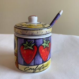 Jam Jar Confiture with Spoon and Lid Colorful